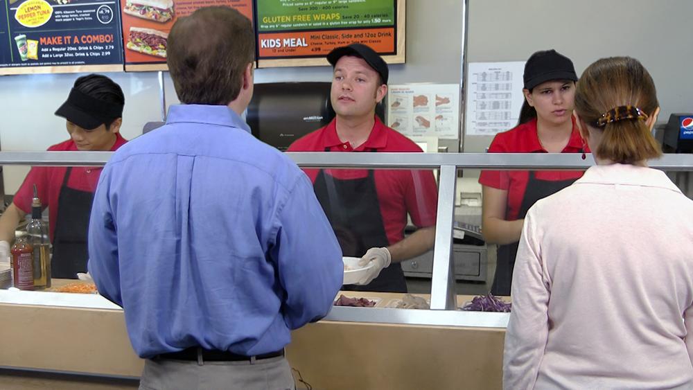 Customer service in a sandwich shop